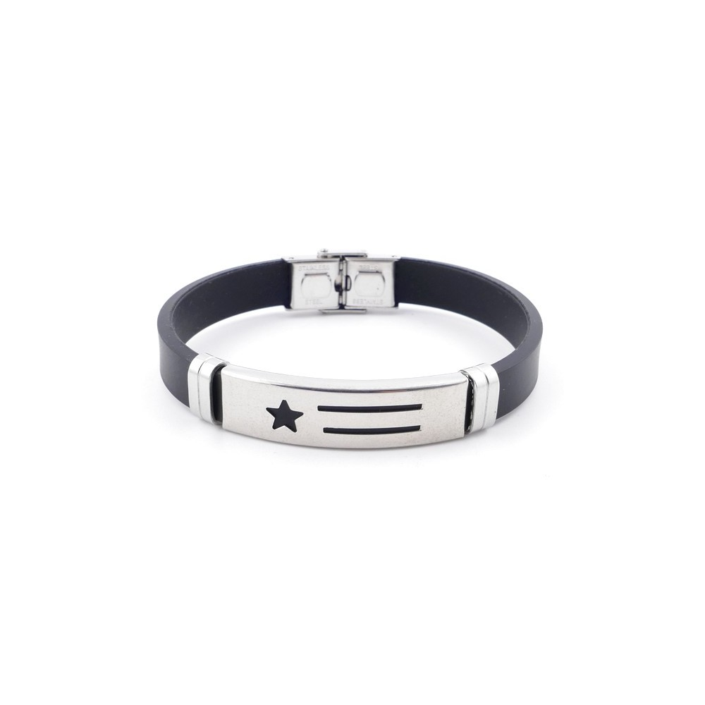 36133-50 ADJUSTABLE RUBBER AND STAINLESS STEEL BRACELET