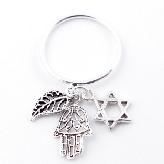 51347-16 STERLING SILVER THIN RING WITH HANGING CHARMS. SIZE 16