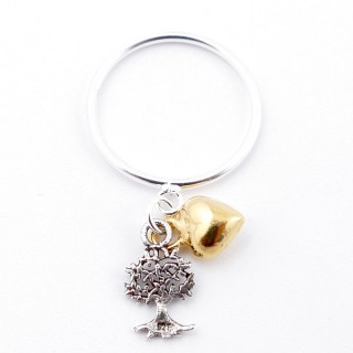 51346-18 STERLING SILVER THIN RING WITH HANGING CHARMS. SIZE 18