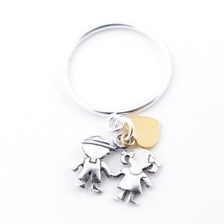 51343-16 STERLING SILVER THIN RING WITH HANGING CHARMS. SIZE 16