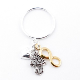51338-19 STERLING SILVER THIN RING WITH HANGING CHARMS. SIZE 19