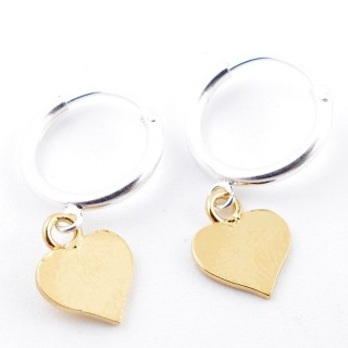 51323 STERLING SILVER 12 MM LOOP EARRINGS WITH GOLD COLOURED HEART CHARM