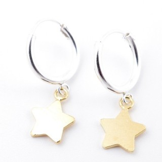51324 STERLING SILVER 12 MM LOOP EARRINGS WITH GOLD COLOURED STAR CHARM