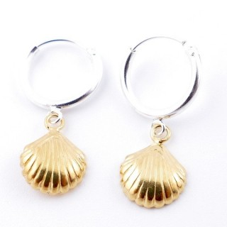 51325 STERLING SILVER 12 MM LOOP EARRINGS WITH GOLD COLOURED SHELL CHARM