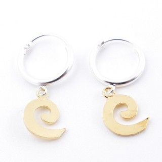 51328 STERLING SILVER 12 MM LOOP EARRINGS WITH GOLD COLOURED SPIRAL CHARM