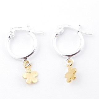 51329 STERLING SILVER 12 MM LOOP EARRINGS WITH GOLD COLOURED FLOWER CHARM