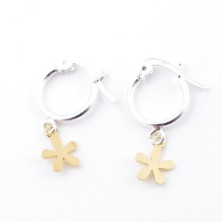51330 STERLING SILVER 12 MM LOOP EARRINGS WITH GOLD COLOURED FLOWER CHARM