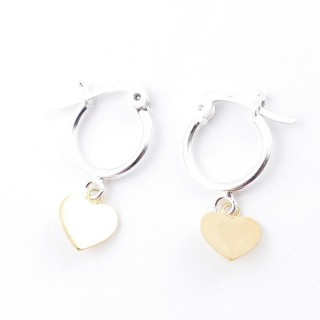 51331 STERLING SILVER 12 MM LOOP EARRINGS WITH GOLD COLOURED HEART CHARM