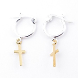 51332 STERLING SILVER 12 MM LOOP EARRINGS WITH GOLD COLOURED CROSS CHARM