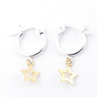 51333 STERLING SILVER 12 MM LOOP EARRINGS WITH GOLD COLOURED STAR CHARM