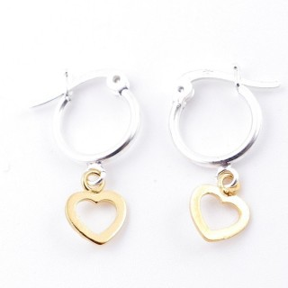 51334 STERLING SILVER 12 MM LOOP EARRINGS WITH GOLD COLOURED HEART CHARM