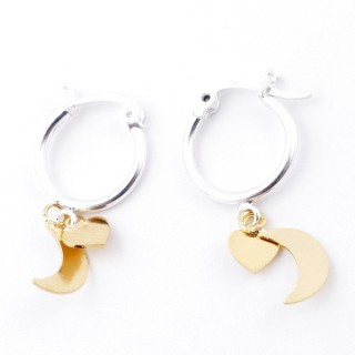 51335 STERLING SILVER 14 MM LOOP EARRINGS WITH GOLD COLOURED HEART AND MOON CHARM