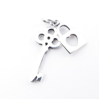 55510 STERLING 925 SILVER PENDANT IN LOCK & KEY 21 X 8 MM