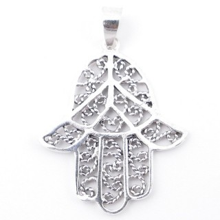 55507 STERLING 925 SILVER PENDANT IN HAMSA SHAPE 33 X 27 MM