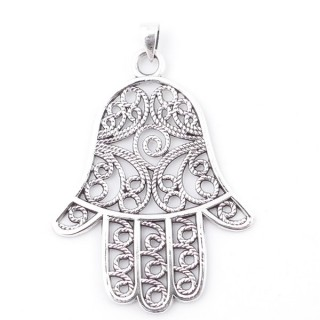 55505 STERLING 925 SILVER PENDANT IN HAMSA SHAPE 55 X 41 MM