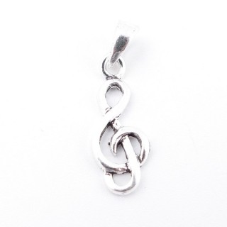 55513 STERLING 925 SILVER PENDANT IN TREBLE CLEF SHAPE 18 X 7 MM