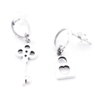 55524 STERLING SILVER LOCK AND 31 X 10 MM KEY EARRINGS