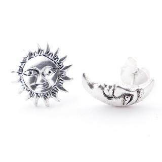 55525 STERLING SILVER MOON AND SUN 10 MM POST EARRINGS