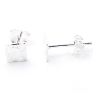 55528-06 STERLING SILVER 5 MM SQUARE STUD EARRINGS