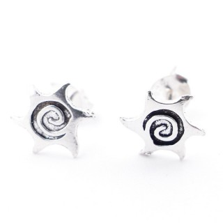55528-05 SUN SHAPED STERLING SILVER 9 MM STUD EARRINGS