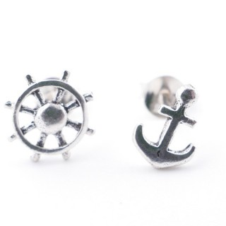 55528-04 SILVER SHIP'S WHEEL & ANCHOR 8 MM EARRINGS
