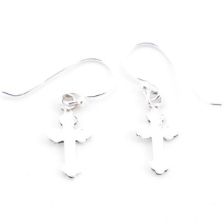 55515 CROSS SHAPED SILVER 15 X 7 MM EARRINGS
