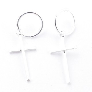 55518 SILVER 925 12 MM LOOP EARRINGS WITH CHARM: CROSS 23 X 11 MM