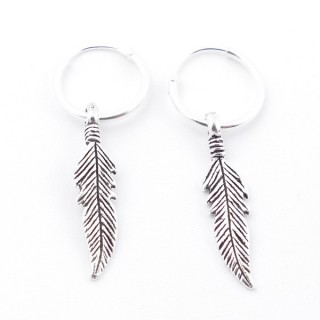 55519 SILVER 925 12 MM LOOP EARRINGS WITH CHARM: FEATHER