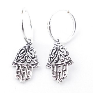 55521 SILVER 925 12 MM LOOP EARRINGS WITH CHARM: HAMSA