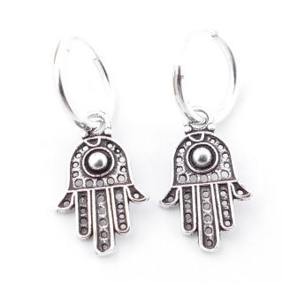 55514 SILVER 925 12 MM LOOP EARRINGS WITH CHARM: HAMSA