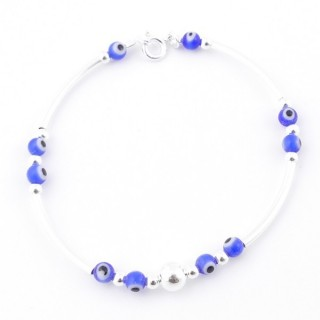 51268 STERLING SILVER BRACELET WITH EVIL EYES AND ROUND CLASP