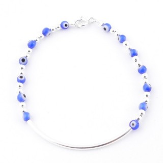 51269 STERLING SILVER BRACELET WITH EVIL EYES AND ROUND CLASP