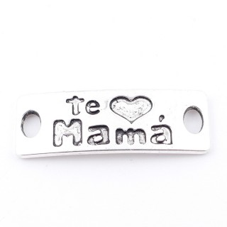 35557-24 PACK OF 5 METAL CHARMS WITH ENGRAVING 12 X 35 MM