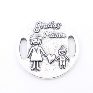 35557-28 PACK OF 5 METAL CHARMS WITH ENGRAVING 27 MM