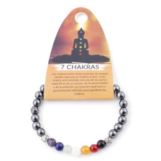 36307-05 MAGNETIC HEMATITE AND 7 CHAKRA STONE 6 MM ELASTIC BRACELET