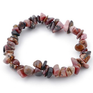 49331-26 ELASTIC CHIP NATURAL STONE BRACELET IN RHODONITE