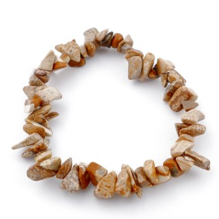 49331-36 ELASTIC CHIP NATURAL STONE BRACELET IN WOOD JASPER