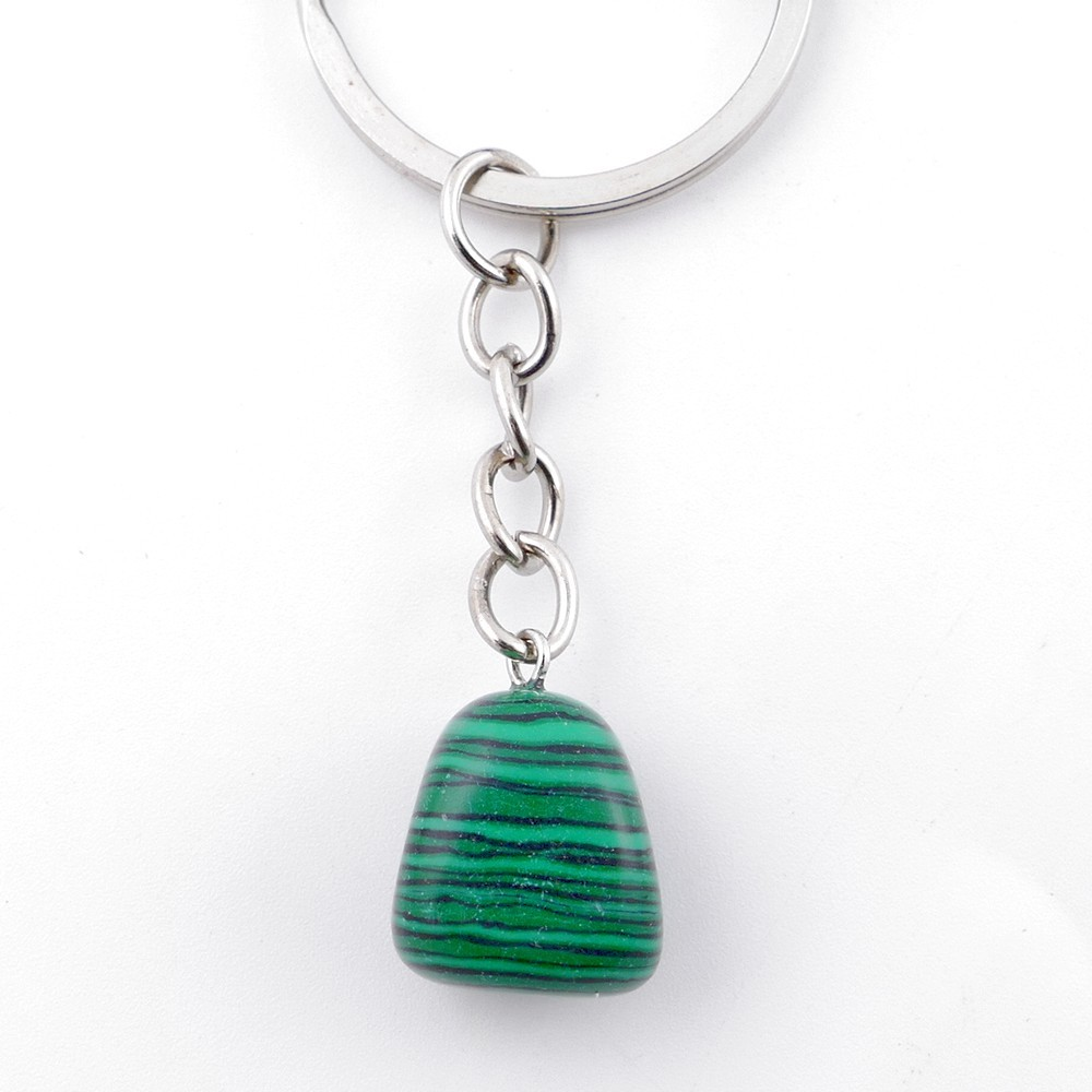 49689-35 METAL AND TUMBLE STONE KEYCHAIN: INDIAN AGATE