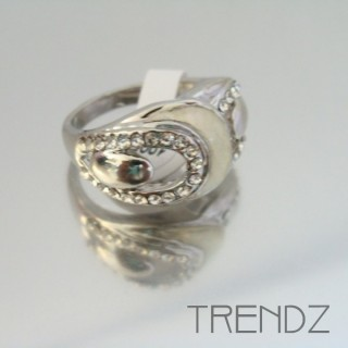 18858 SILVER SIZE 17 RHODIUM PLATED METAL & GLASS RING