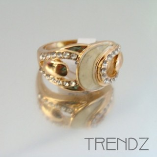 18858 GOLD SIZE 17 RHODIUM PLATED METAL & GLASS RING