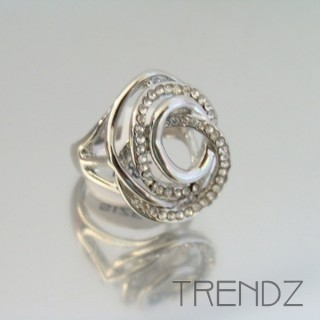 18855 SILVER SIZE 17 RHODIUM PLATED METAL & GLASS RING