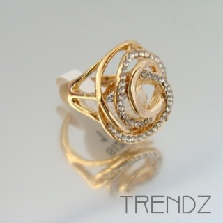 18855 GOLD SIZE 17 RHODIUM PLATED METAL & GLASS RING