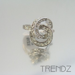 18861 SILVER SIZE 16 RHODIUM PLATED METAL & GLASS RING