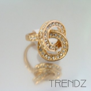 18861 GOLD SIZE 17 RHODIUM PLATED METAL & GLASS RING