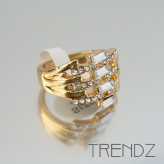 18854 GOLD SIZE 17 RHODIUM PLATED METAL & GLASS RING