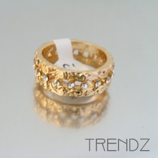 18849 GOLD SIZE 16 RHODIUM PLATED METAL & GLASS RING