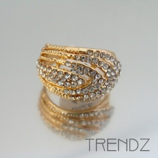 18865 GOLD SIZE 17 RHODIUM PLATED METAL & GLASS RING