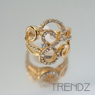 18857 GOLD SIZE 16 RHODIUM PLATED METAL & GLASS RING