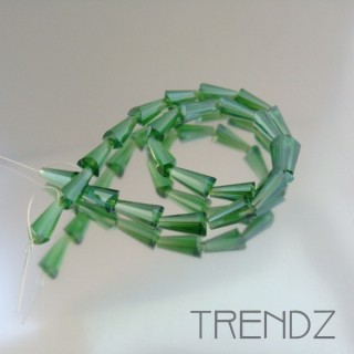 18708-03 STRING OF 25 FACETED GLASS 6 X 12 MM CONE BEADS