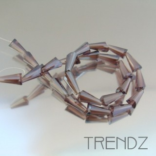 18708-08 STRING OF 25 FACETED GLASS 6 X 12 MM CONE BEADS